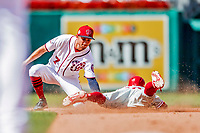 23 August 2018: Washington Nationals shortstop Trea Turner catches Cesar Hernandez stealing second to end the 8th inning against the Philadelphia Phillies at Nationals Park in Washington, DC. The Phillies shut out the Nationals 2-0 to take the 3rd game of their 3-game mid-week divisional series. Mandatory Credit: Ed Wolfstein Photo *** RAW (NEF) Image File Available ***