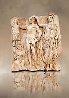 Sculpture of Roman Emperor being crowned with a barbarian captive. Aphrodisias Archaeological museum, Turkey