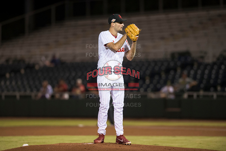 Scottsdale Scorpions starting pitcher Tyler Viza (35), of the Philadelphia Phillies organization, looks in for the sign during an Arizona Fall League game against the Salt River Rafters at Scottsdale Stadium on October 12, 2018 in Scottsdale, Arizona. Scottsdale defeated Salt River 6-2. (Zachary Lucy/Four Seam Images)