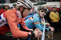 a yawning Eli Iserbyt (BEL) at the start<br /> <br /> U23 men's race<br /> <br /> UCI 2016 cyclocross World Championships / Zolder, Belgium