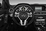 Steering wheel view of a 2013 Mercedes C-Class C63 AMG Sedan Stock Photo