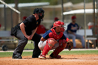 Umpire Alex Lawrie and GCL Cardinals catcher Zade Richardson (31) during a Gulf Coast League game against the GCL Marlins on August 12, 2019 at the Roger Dean Chevrolet Stadium Complex in Jupiter, Florida.  GCL Marlins defeated the GCL Cardinals 9-2.  (Mike Janes/Four Seam Images)