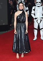 """Daisy Ridley<br /> arriving for the """"Star Wars: The Last Jedi"""" film premiere at the Royal Albert Hall, London.<br /> <br /> <br /> ©Ash Knotek  D3363  12/12/2017"""