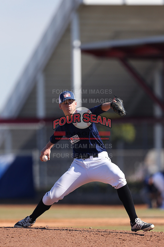 Jonathan Teaney of Quartz Hill High School in Palmdale, California during the MLBS Southern California Invitational Workout at the Urban Youth Academy on February 14, 2014 in Compton, California. (Larry Goren/Four Seam Images)