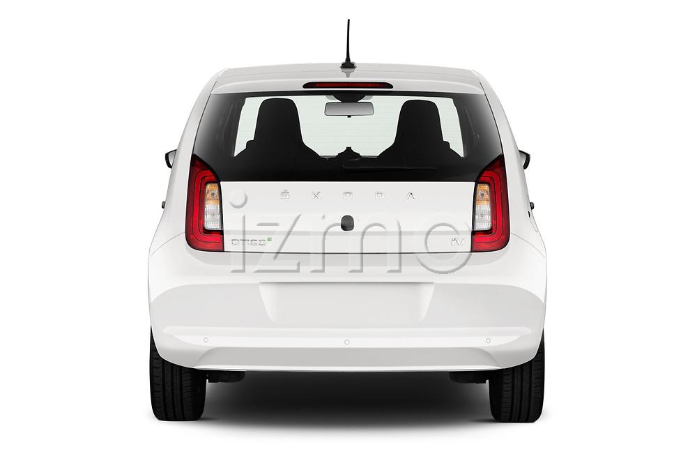 Straight rear view of a 2020 Skoda Citigo e iV Ambition 5 Door Hatchback stock images