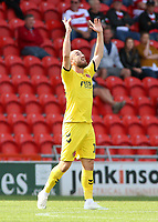 Fleetwood Town's Paddy Madden celebrates scoring his side's second goal<br /> Photographer David Shipman/CameraSport<br /> <br /> The EFL Sky Bet League One - Doncaster Rovers v Fleetwood Town - Saturday 17th August 2019  - Keepmoat Stadium - Doncaster<br /> <br /> World Copyright © 2019 CameraSport. All rights reserved. 43 Linden Ave. Countesthorpe. Leicester. England. LE8 5PG - Tel: +44 (0) 116 277 4147 - admin@camerasport.com - www.camerasport.com