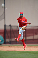 Philadelphia Phillies Arquimedes Gamboa (30) throws to first base during a minor league Spring Training game against the Pittsburgh Pirates on March 24, 2017 at Carpenter Complex in Clearwater, Florida.  (Mike Janes/Four Seam Images)