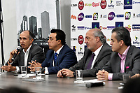 BOGOTA – COLOMBIA, 20-03-2019: David Samudio (Izq.) Presidente de la Federación Colombiana de Tenis, Orlando Merlano (2 Izq.); Director del Instituto Distrital para la Recreación y el Deporte (IDRD); Ignacio Correa Sebastián (2 Der), Presidente de Colsanitas y David Londoño (Der.), Director Corporativo de Mercadeo y Comunicaciones de Claro durante la presentación del Claro Colsanitas WTA 2019 de tenis en el auditorio Adolfo Carvajal, en Coldeportes, torneo que se realizará en las canchas del Carmel Club en la ciudad de Bogotá del 6 al 14 de abril de 2019. / David Samudio (L) President of the Colombian Tennis Federation, Orlando Merlano (2 L); Director of the District Institute for Recreation and Sports (IDRD); Ignacio Correa (2 R), President of Colsanitas and David Londoño (R), Corporate Director of Marketing and Communications of Claro; during the presentation of the Claro Colsanitas WTA 2019 tennis in the auditorium Adolfo Carvajal, in Coldeportes, tournament to be held in the courts of the Carmel Club in the city of Bogotá from April 6 to 14 de 2019. / Photo: VizzorImage / Luis Ramírez / Staff.