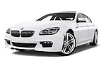 Stock pictures of low aggressive front three quarter view of 2016 BMW 6 Series 640i Gran Coupe 4 Door Sedan Low Aggressive