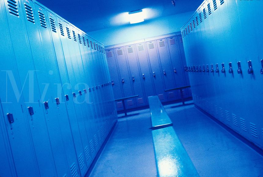 Locker room in blue light.