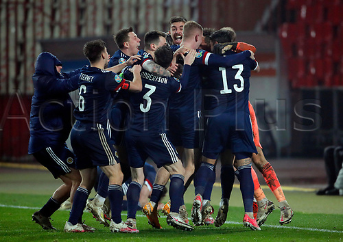 12th November 2020; Belgrade, Serbia; European International Football Playfoff Final, Serbia versus Scotland;  Scotlands players celebrate victory after the penalty shoot out