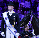 OMAHA, NEBRASKA - MAR 30: Isabell Werth's groom is overcome by emotion after Werth wins the Longines FEI World Cup Dressage Final at the CenturyLink Center on March 31, 2017 in Omaha, Nebraska. (Photo by Taylor Pence/Eclipse Sportswire/Getty Images)