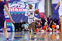 GREENSBORO, NC - MARCH 6: Marnelle Garraud #14 of Boston College brings the ball up the court during a game between Clemson and Boston College at Greensboro Coliseum on March 6, 2020 in Greensboro, North Carolina.