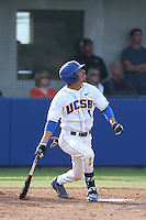 Peter Maris (1) of the UC Santa Barbara Gauchos bats during a game against the Kentucky Wildcats at Caesar Uyesaka Stadium on March 20, 2015 in Santa Barbara, California. UC Santa Barbara defeated Kentucky, 10-3. (Larry Goren/Four Seam Images)