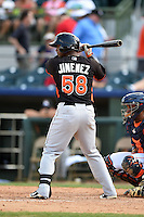 Miami Marlins catcher Joel Jimenez (58) during a spring training game against the Houston Astros on March 21, 2014 at Osceola County Stadium in Kissimmee, Florida.  Miami defeated Houston 7-2.  (Mike Janes/Four Seam Images)