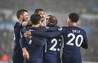 Celebrations after Fernando Llorente of Spurs his first league goal for the club on his full start during the Premier League match between Swansea City and Tottenham Hotspur at the Liberty Stadium, Swansea, Wales on 2 January 2018. Photo by Mark Hawkins / PRiME Media Images.