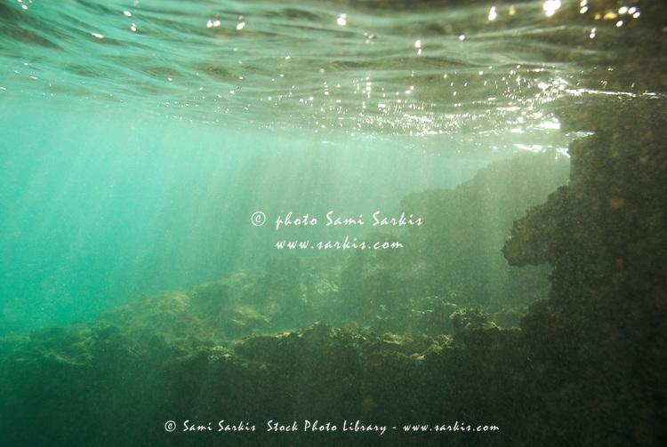 Sunrays penetrating underwater cave near surface, underwater view, Bartolome Island, Ecuador, Galapagos Archipelago