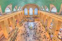 A stylized view of the main concourse of historic Grand Central Terminal looking west toward Vanderbilt Avenue.  Grand Central Terminal is located in New York City, New York.