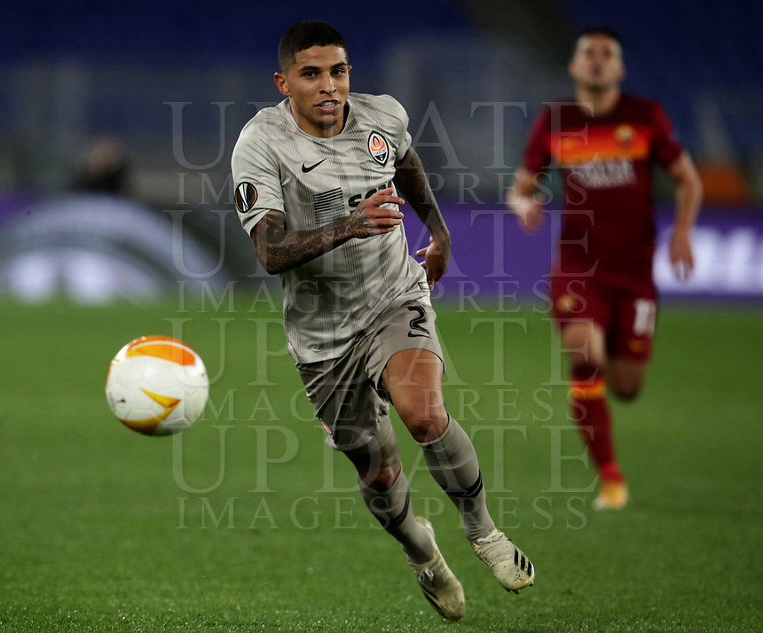 Football Soccer: Europa League -Round of 16 1nd leg AS Roma vs FC Shakhtar Donetsk, Olympic Stadium. Rome, Italy, March 11, 2021.<br /> Shakhtar Donetsk's Dodo (L) in action during the Europa League football soccer match between Roma and  Shakhtar Donetsk at Olympic Stadium in Rome, on March 11, 2021.<br /> UPDATE IMAGES PRESS/Isabella Bonotto