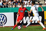 10.08.2019, Donaustadion, Ulm, GER, DFB Pokal, SSV Ulm 1846 Fussball vs 1. FC Heidenheim, <br /> DFL REGULATIONS PROHIBIT ANY USE OF PHOTOGRAPHS AS IMAGE SEQUENCES AND/OR QUASI-VIDEO, <br /> im Bild David Otto (Heidenheim, #26), Florian Krebs (Ulm, #4) <br /> <br /> Foto © nordphoto / Hafner