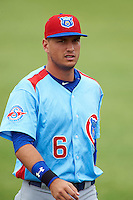 Tennessee Smokies outfielder Albert Almora (6) during a game against the Montgomery Biscuits on May 25, 2015 at Riverwalk Stadium in Montgomery, Alabama.  Tennessee defeated Montgomery 6-3 as the game was called after eight innings due to rain.  (Mike Janes/Four Seam Images)