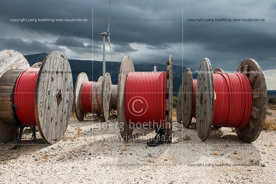 TURKEY, Karaburun near Izmir, 223 MW wind farm  of company Lodos Elektrik with Enercon E-82 wind turbines, cable drum / TUERKEI, Karaburun, 223 MW Windpark der Firma Lodos Elektrik mit Enercon E-82 Windkraftanlagen, Kabeltrommel
