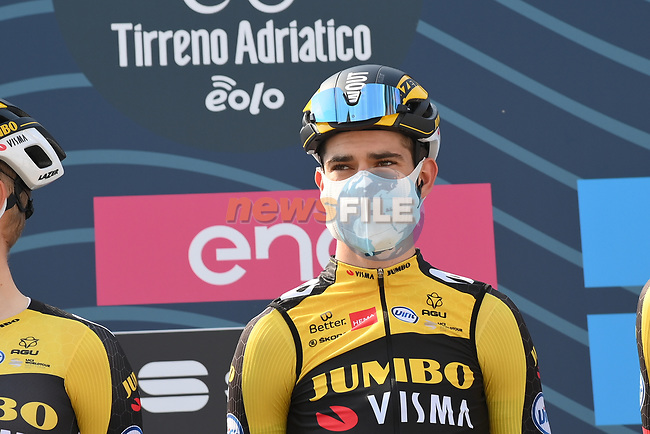 Wout Van Aert (BEL) Team Jumbo Visma at sign on before the start of Stage 1 of Tirreno-Adriatico Eolo 2021, running 156km from Lido di Camaiore to Lido di Camaiore, Italy. 10th March 2021. <br /> Photo: LaPresse/Gian Mattia D'Alberto | Cyclefile<br /> <br /> All photos usage must carry mandatory copyright credit (© Cyclefile | LaPresse/Gian Mattia D'Alberto)