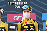 Wout Van Aert (BEL) Team Jumbo Visma at sign on before the start of Stage 1 of Tirreno-Adriatico Eolo 2021, running 156km from Lido di Camaiore to Lido di Camaiore, Italy. 10th March 2021. <br /> Photo: LaPresse/Gian Mattia D'Alberto   Cyclefile<br /> <br /> All photos usage must carry mandatory copyright credit (© Cyclefile   LaPresse/Gian Mattia D'Alberto)