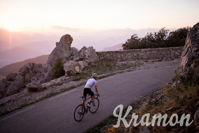 up the Mare de Déu del Mont climb at dusk<br /> <br /> Girona / Spain