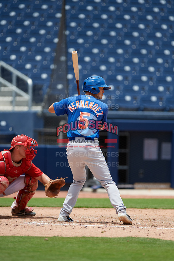 GCL Mets third baseman Kenny Hernandez (5) at bat during the second game of a doubleheader against the GCL Nationals on July 22, 2017 at The Ballpark of the Palm Beaches in Palm Beach, Florida.  GCL Mets defeated the GCL Nationals 4-1.  (Mike Janes/Four Seam Images)