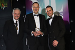 © Joel Goodman - 07973 332324 . 03/03/2016 . Manchester , UK . Michael Hardacre , president of Manchester Law Society , winner small law firm - HRC - Simon Whitehead (centre) . The Manchester Legal Awards from the Midland Hotel . Photo credit : Joel Goodman