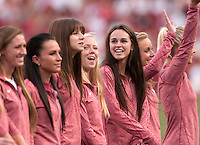 NWA Democrat-Gazette/BEN GOFF @NWABENGOFF<br /> The Arkansas women's track team takes the field to be recognized for their 2014 national championship on Saturday Sept. 19, 2015 during a timeout in the game against Texas Tech in Razorback Stadium in Fayetteville.