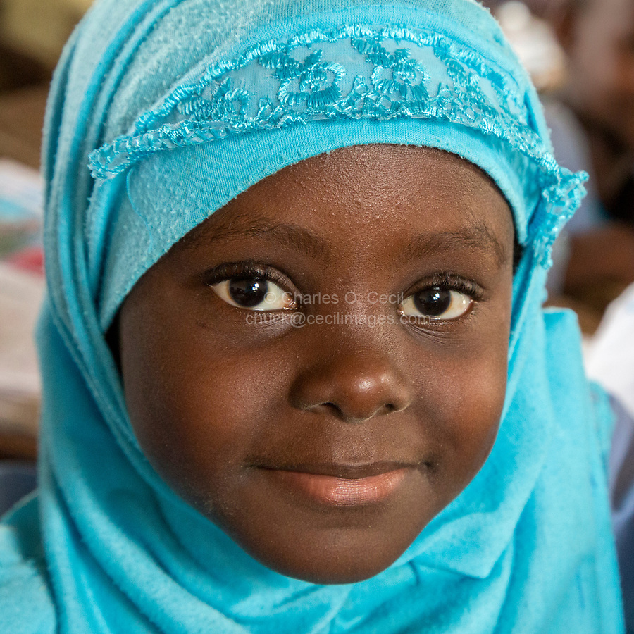 Senegal, Touba.  Young Girl at Al-Azhar Madrasa, a School for Islamic Studies.