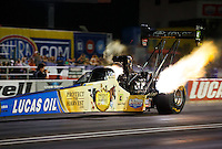 Sep 2, 2016; Clermont, IN, USA; NHRA top fuel driver Morgan Lucas during qualifying for the US Nationals at Lucas Oil Raceway. Mandatory Credit: Mark J. Rebilas-USA TODAY Sports