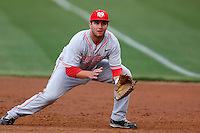 D.J. Peterson of the New Mexico Lobos in the field during a game against the San Diego State Aztecs at Tony Gwynn Stadium on May 16, 2013 in San Diego, California. New Mexico defeated San Diego State, 14-6. (Larry Goren/Four Seam Images)
