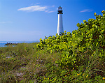 Key Biscayne, FL:  Cape Florida Lighthouse (1825) overlooking Biscayne Bay and the Atlantic Ocean from Bill Braggs State Park Recreation Area