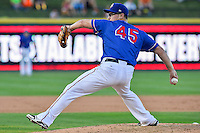 Round Rock Express pitcher Matt West (45) throws a pitch during pacific coast league baseball game, Saturday August 16, 2014 in Round Rock, Tex. Tacoma Rainiers win game one of the best of four series 8-7. (Mo Khursheed/TFV Media via AP Images)