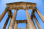 Named as a UNESCO World Heritage Site in 1997 and located southeast of Tunis, the Roman ruins of Dougga are renowned as the largest and most beautiful Roman site in all of Tunisia.  This photo shows the well-preserved temple of the Capitol.