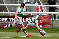 TRY - Jordan Burns of Ealing Trailfinders is the scorer during the Championship Cup Quarter Final match between Ealing Trailfinders and Nottingham Rugby at Castle Bar , West Ealing , England  on 2 February 2019. Photo by Carlton Myrie / PRiME Media Images.