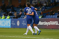 2nd May 2021; Kingsmeadow, London, England;  Sam Kerr and Fran Kirby of Chelsea celebrate the first goal during the UEFA Womens Champions League Semi Final game between Chelsea and Bayern Munich at Kingsmeadow