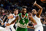 Real Madrid's player Rudy Fernandez and Dontaye Draper and Unics Kazan's player Keith Langford during match of Turkish Airlines Euroleague at Barclaycard Center in Madrid. November 24, Spain. 2016. (ALTERPHOTOS/BorjaB.Hojas)