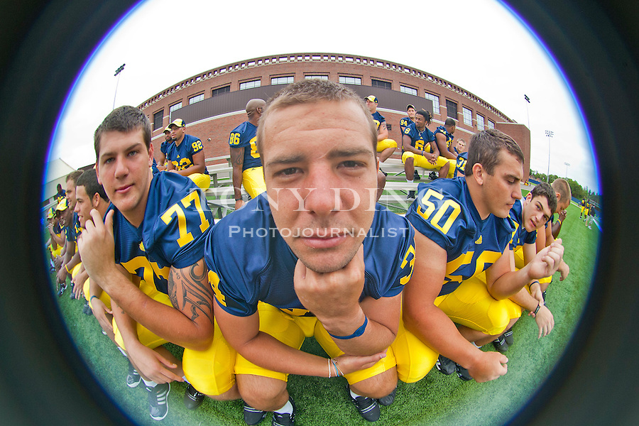 Michigan kicker Brendan Gibbons (34) poses for a picture at the annual NCAA college football media day, Sunday, Aug. 22, 2010, in Ann Arbor, Mich. (AP Photo/Tony Ding)