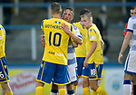 Greenock Morton v St Johnstone….09.07.19      Cappielow        Pre-Season Friendly<br />David Wotherspoon hugs former team mate Chris Millar at full time<br />Picture by Graeme Hart. <br />Copyright Perthshire Picture Agency<br />Tel: 01738 623350  Mobile: 07990 594431