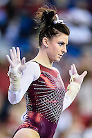 Oklahoma's Erica Brewer competes on the floor exercise during the semifinals of the NCAA women's gymnastics championships, Friday, April 17, 2015 in Fort Worth, Tex.(Mo Khursheed/TFV Media via AP Images)