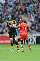 Seremaia Bai of Leicester Tigers leaves the field after initially being given a yellow card which referee Wayne Barnes later converts to a red card