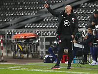 12th November 2020; Liberty Stadium, Swansea, Glamorgan, Wales; International Football Friendly; Wales versus United States of America; Rob Page, coach of Wales shouts instructions to his players