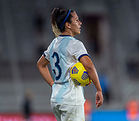 ORLANDO, FL - FEBRUARY 21: Eliana Stabile #3 of Argentina holds the ball during a game between Canada and Argentina at Exploria Stadium on February 21, 2021 in Orlando, Florida.