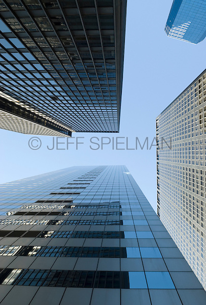 AVAILABLE FOR LICENSING FROM GETTY IMAGES.  Please go to www.gettyimages.com and search for image # 129908291.<br /> <br /> Upward View of Office Buildings in Lower Manhattan's Financial District, New York City, New York State, USA