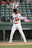 Third baseman Brandon Howlett (35) of the Greenville Drive bats in a game against the Hickory Crawdads on Wednesday, May 15, 2019, at Fluor Field at the West End in Greenville, South Carolina. Greenville won, 6-5. (Tom Priddy/Four Seam Images)