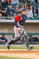 Gwinnett Braves catcher Steve Lerud (19) on defense against the Charlotte Knights at BB&T Ballpark on April 16, 2014 in Charlotte, North Carolina.  The Braves defeated the Knights 7-2.  (Brian Westerholt/Four Seam Images)